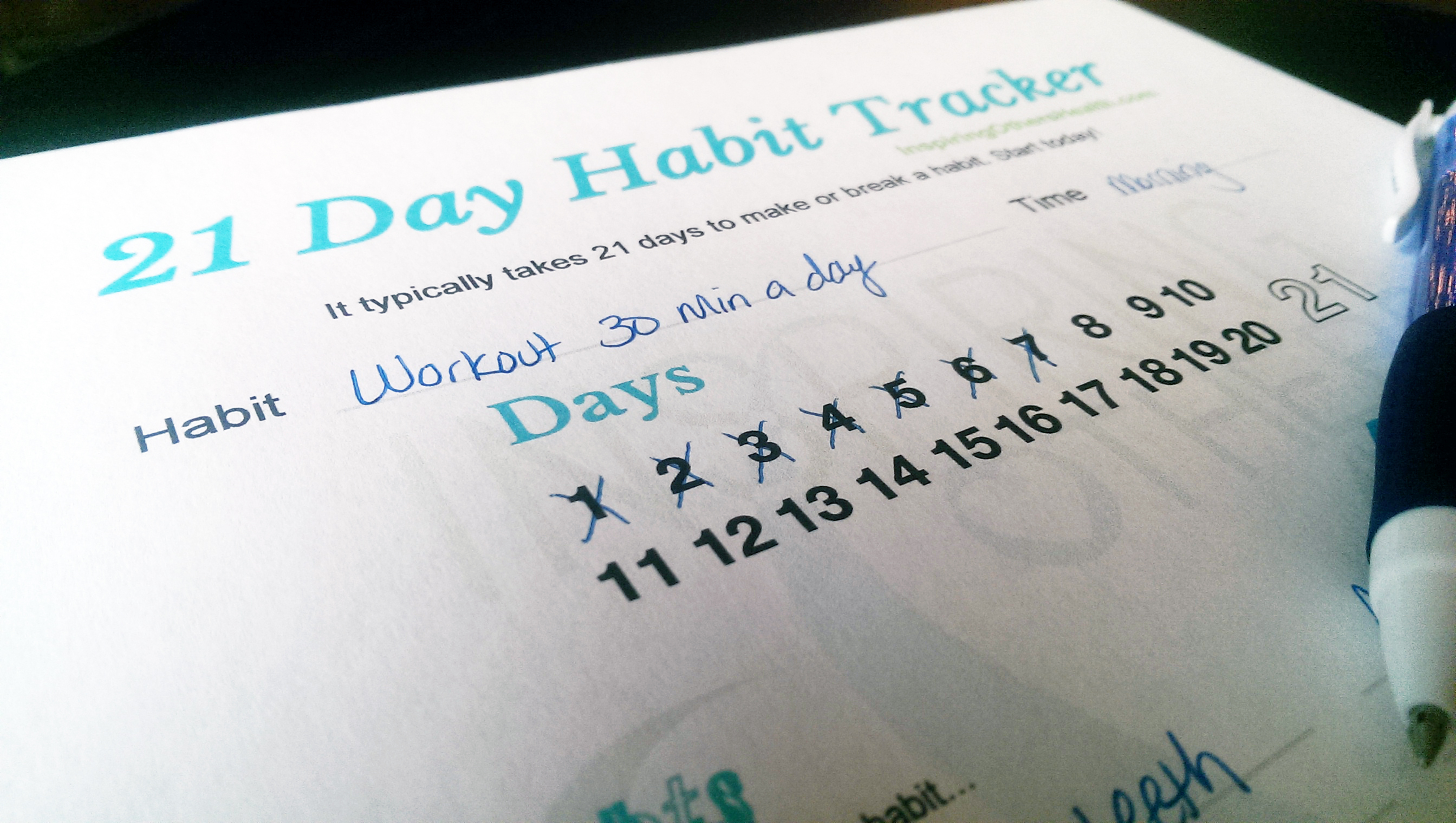 21 Day Habit Tracker